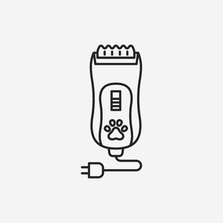 shaving: pet shaving machine line icon Illustration