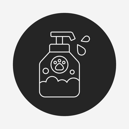 bathtime: pet shampoo line icon
