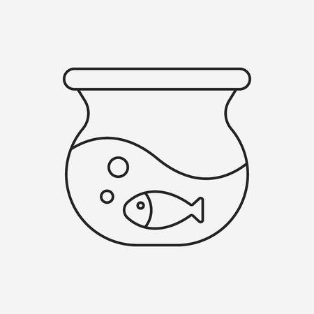 fish bowl: fish bowl line icon Illustration