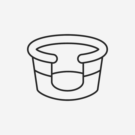 lying in bed: pet bed line icon Illustration