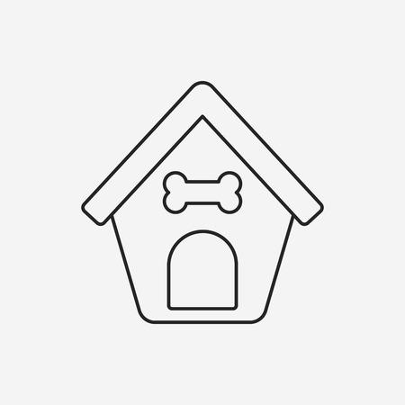 casa de perro: perro icono de l�nea de casa Vectores