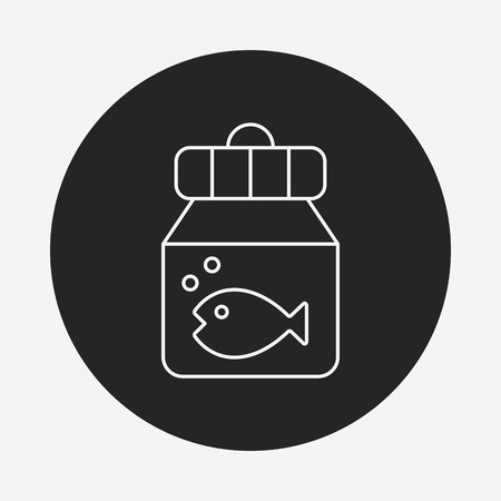 fish bowl line icon Illustration