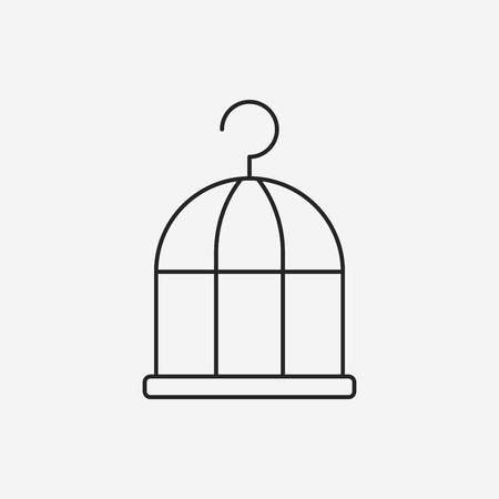 in a cage: bird cage line icon