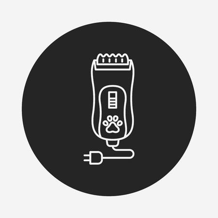 long black hair: pet shaving machine line icon Illustration