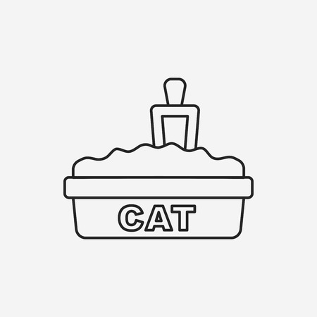 litter: cat litter box line icon Illustration
