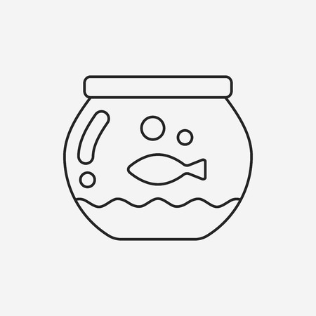 fishbowl: fish bowl line icon Illustration
