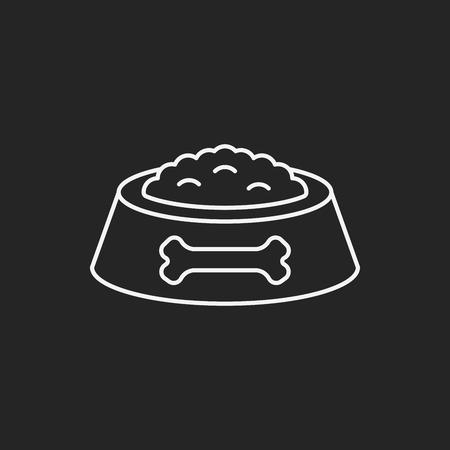 icono de línea de comida para perros mascotas Ilustración de vector