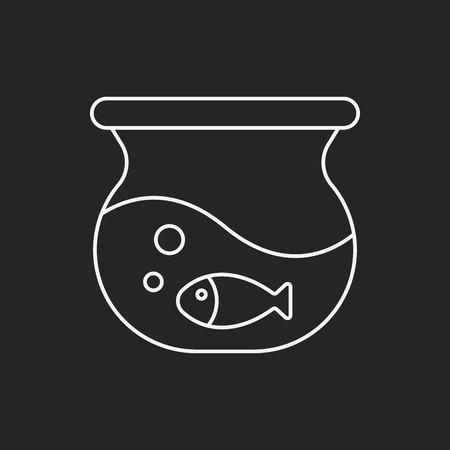 gold fish bowl: fish bowl line icon Illustration
