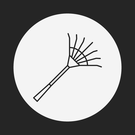 gardening hoses: Rake line icon Illustration