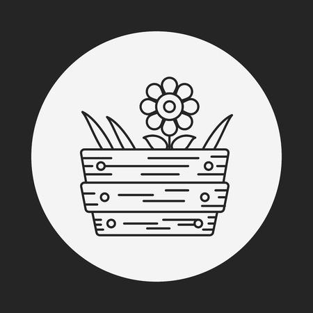 eco icons: plant line icon Illustration