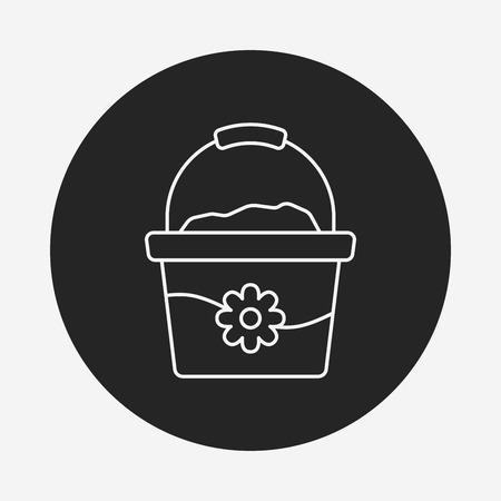 cartoon wood bucket: water bucket line icon Illustration