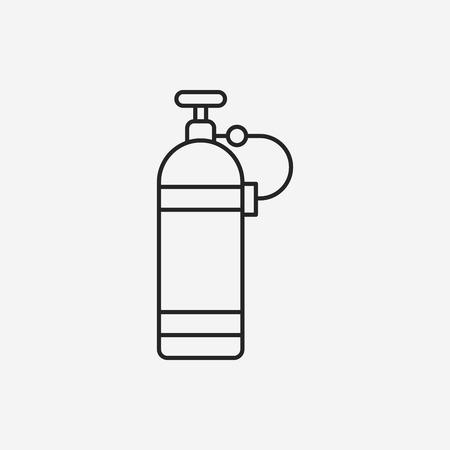 compressed air: Oxygen bottles line icon Illustration