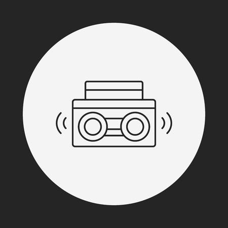 equipo de sonido: icono de línea estéreo