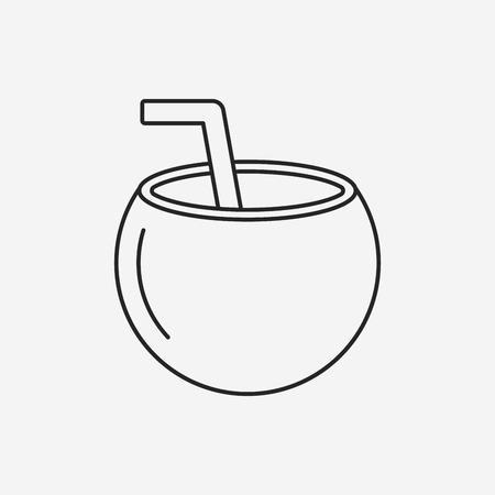 coconut drink: coconut drink line icon Illustration
