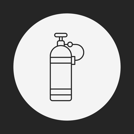 compressed gas: Oxygen bottles line icon Illustration