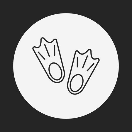 fins: diving fins line icon