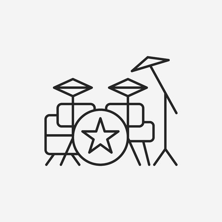 bass drum: Bass drums line icon
