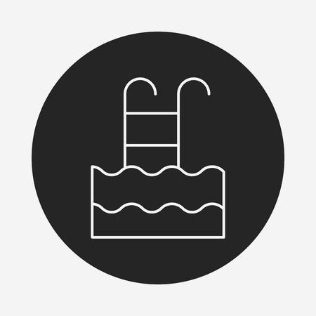 poolside: swimming pool line icon Illustration