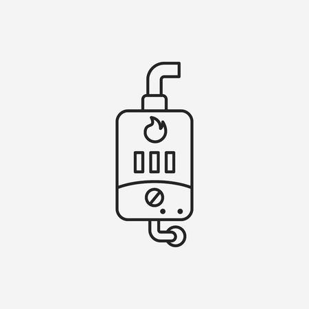 calentador: Icono de la l�nea del calentador de agua