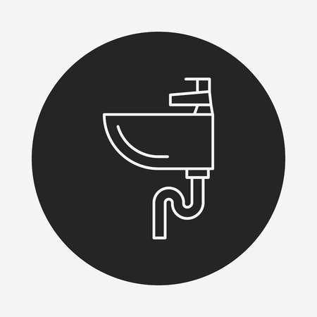 washstand: Sink line icon Illustration