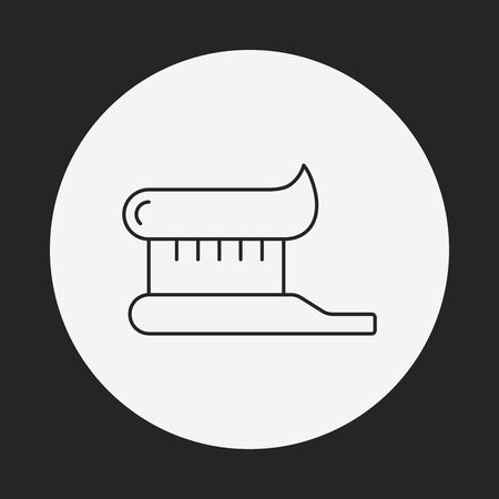 toiletries: tooth brush line icon Illustration