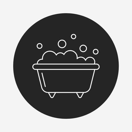 water sanitation: bathtub line icon