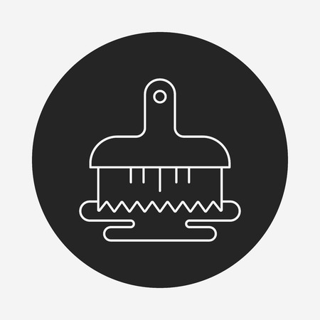 plunger: Toilet plunger and brush line icon Illustration
