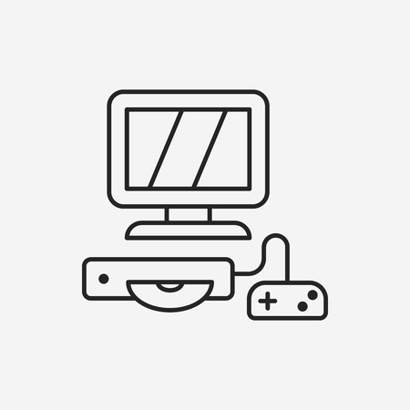 computer game: computer game line icon Illustration