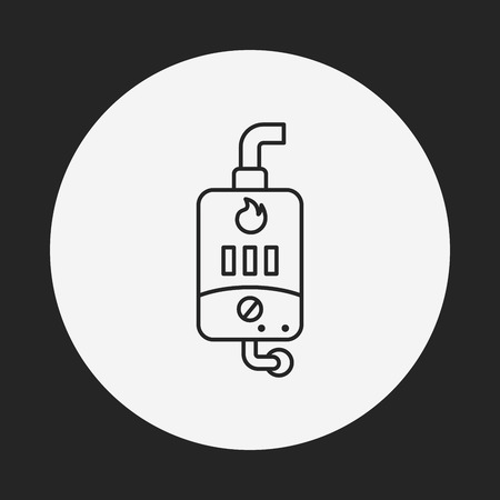thermodynamic: Water Heater line icon Illustration