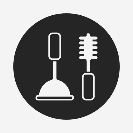 plunger: Toilet plunger and brush icon