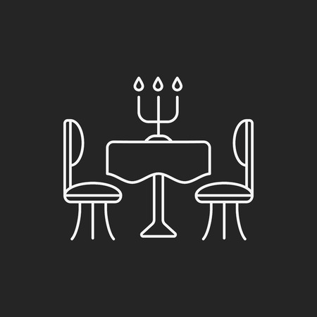 저녁 식사 테이블 라인 아이콘