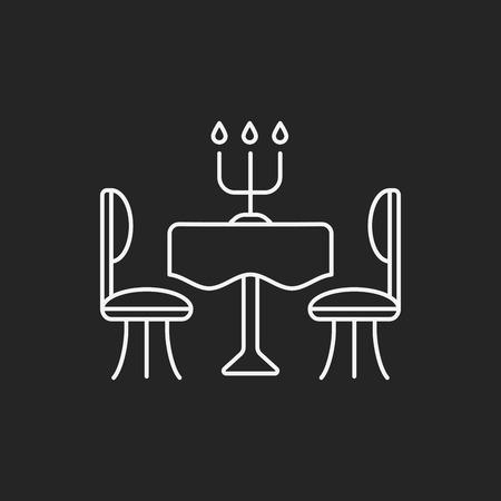 dinner plate: dinner table line icon