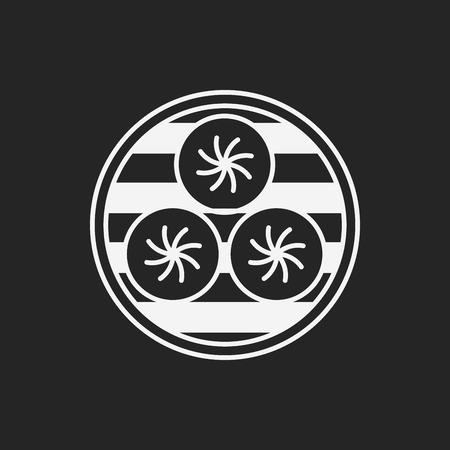 stuffed: Steamed stuffed bun icon Illustration