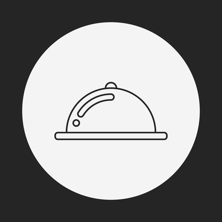 serving people: Tray line icon