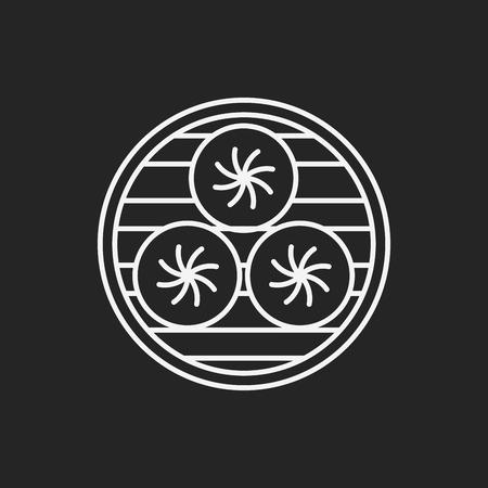 dim: Steamed stuffed bun line icon