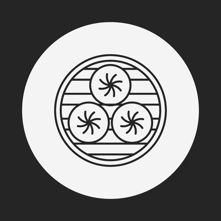 stuffed: Steamed stuffed bun line icon