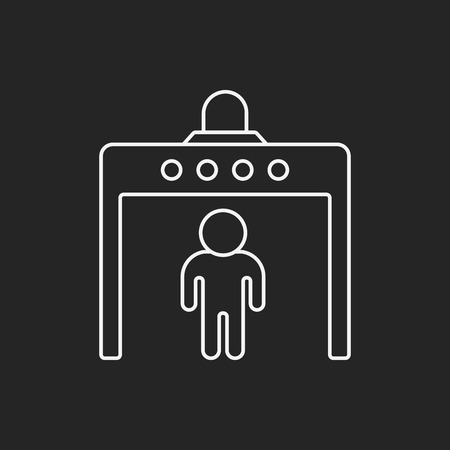 entrance is forbidden: security gate line icon Illustration