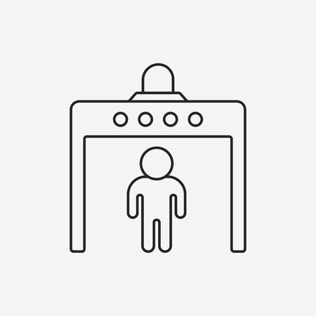 security symbol: security gate line icon Illustration