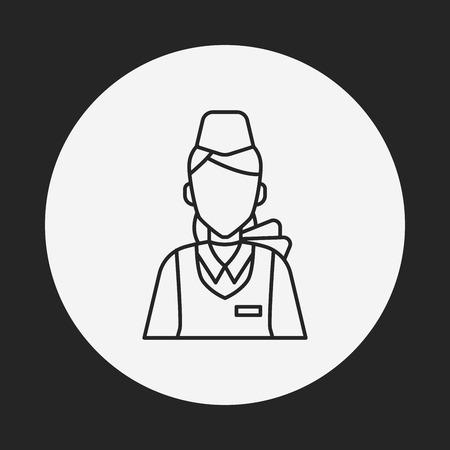 flight attendant: flight attendant line icon