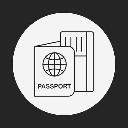 passeport: icône de la ligne de passeport