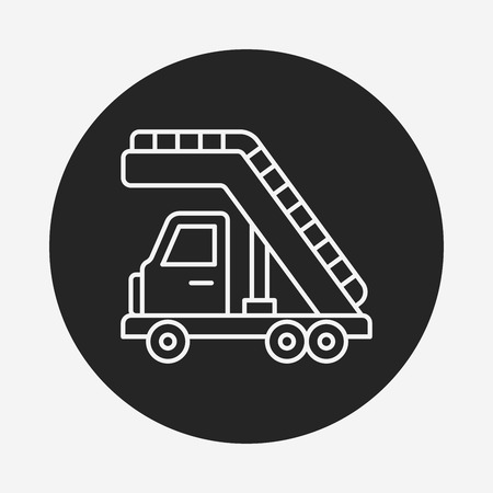 ladder safety: Airport stairs line icon