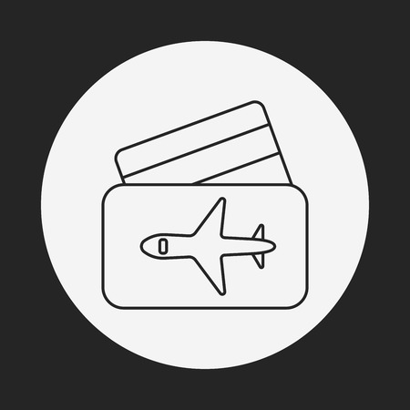 airplane ticket: airplane ticket line icon Illustration