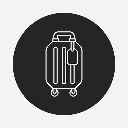 trolley case: luggage line icon Illustration