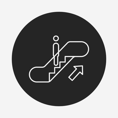 escalate: Escalator line icon Illustration