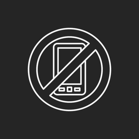 phone symbol: no phone line icon Illustration