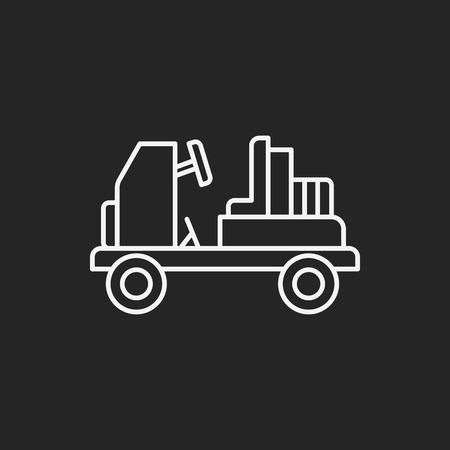 white van: airport car line icon Illustration