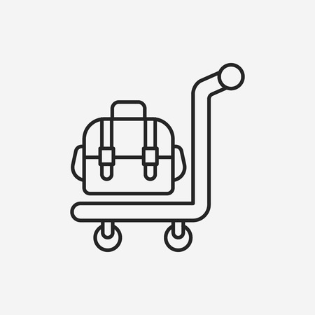 trolley case: luggage line icon Illustration