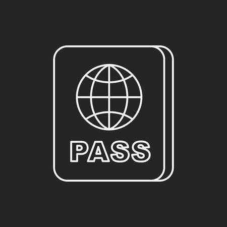 emigration: passport line icon