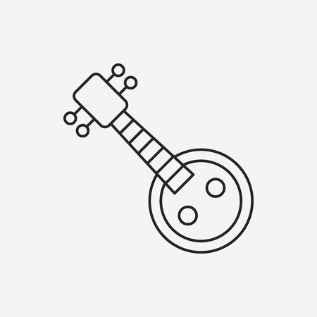 lute: musical instrument Chinese lute line icon Illustration
