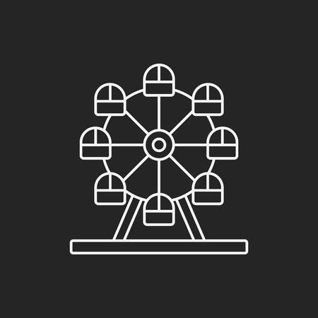 fairground: Ferris wheel line icon Illustration